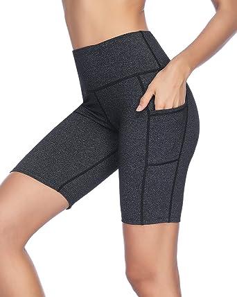 X-HERR Women 8 quot  Tummy Control Bike Shorts Spandex Yoga Compression  Short with Pockets ddbcd8815a