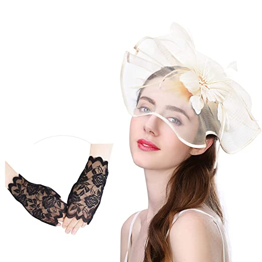 U-Zomir Fascinator Hat Feather Mesh Party Hat Flower Wedding Derby Cocktail  Tea Party Headband 4e4660311aa