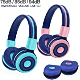 2 Pack of SIMOLIO Wireless Bluetooth Headphones for Kids with 75dB,85dB,94dB Volume Limit, Kids Headphone with Mic & Hard Case, Children Headphones with Share Jack for Girls Boys,Toddlers (Pink+Mint)