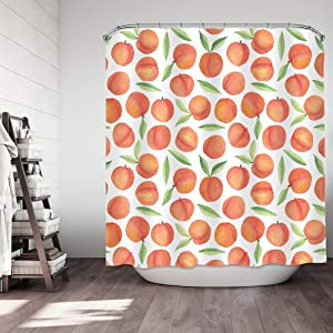 COLORPAPA Peach Shower Curtain Pink Shower Curtains Colorful Watercolor Stylish Fruit Bathroom Decor Fabric Curtain with 12 Hooks 72x72 Inch Peachy Pink