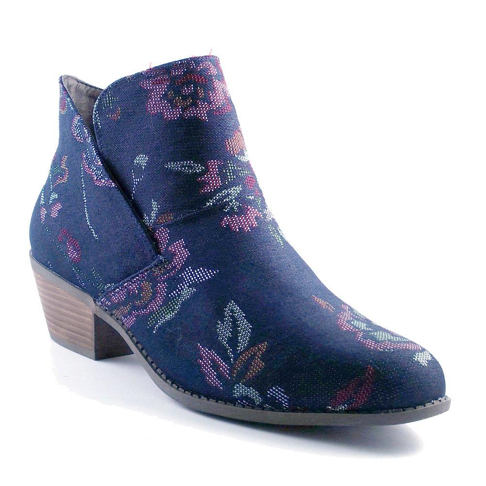 Me Too Womens zena14 Suede Almond Toe Ankle Fashion Boots B06ZZ3MMDQ 7.5 B(M) US Dark Blue Denim Brocade