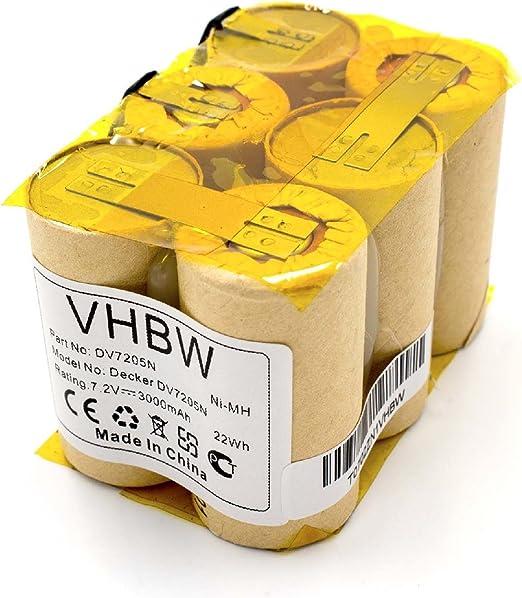 vhbw NiMH batería 3000mAh (7.2V) para robot aspirador robot autónomo de limpieza Black & Decker DV7205, DV7205N: Amazon.es: Hogar
