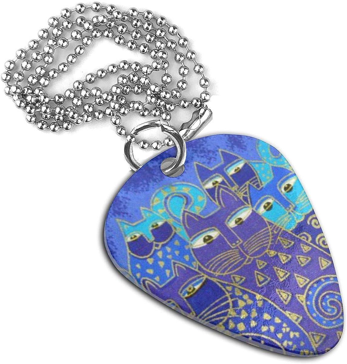 Indigo Cats Guitar Pick Necklace Pendant Pet Card Keychain
