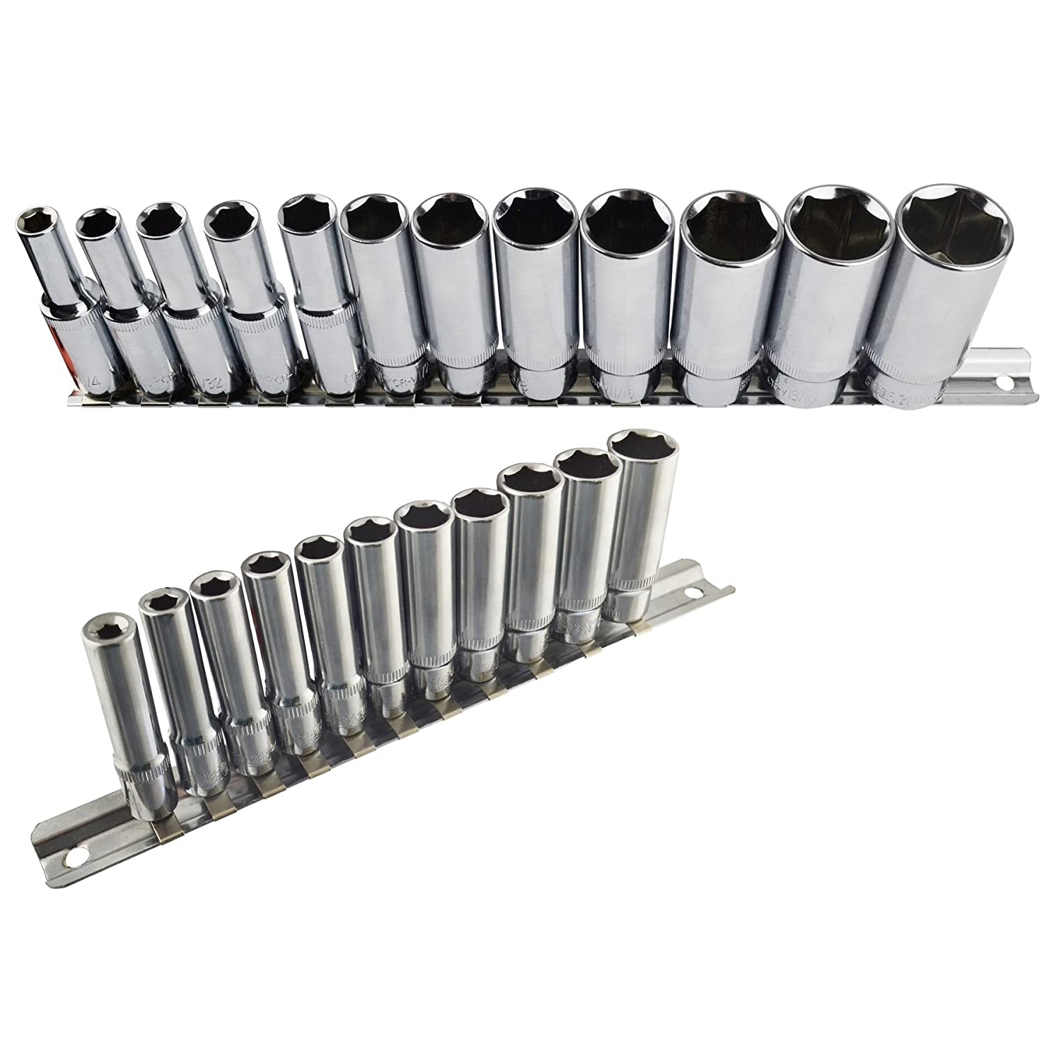 Imperial SAE / AF Double Deep Sockets 1/4' And 3/8' Drive 5/32' - 7/8' 23pc Set AB Tools