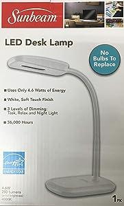 New SUNBEAM Flexible Neck LED Desk LAMP Adjustable Light Energy Star (White)