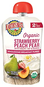 Earth's Best Organic Stage 2 Breakfast Baby Food, Strawberry Peach Pear with Yogurt, Oat & Quinoa, 3.5 Oz Pouch (Pack of 12)