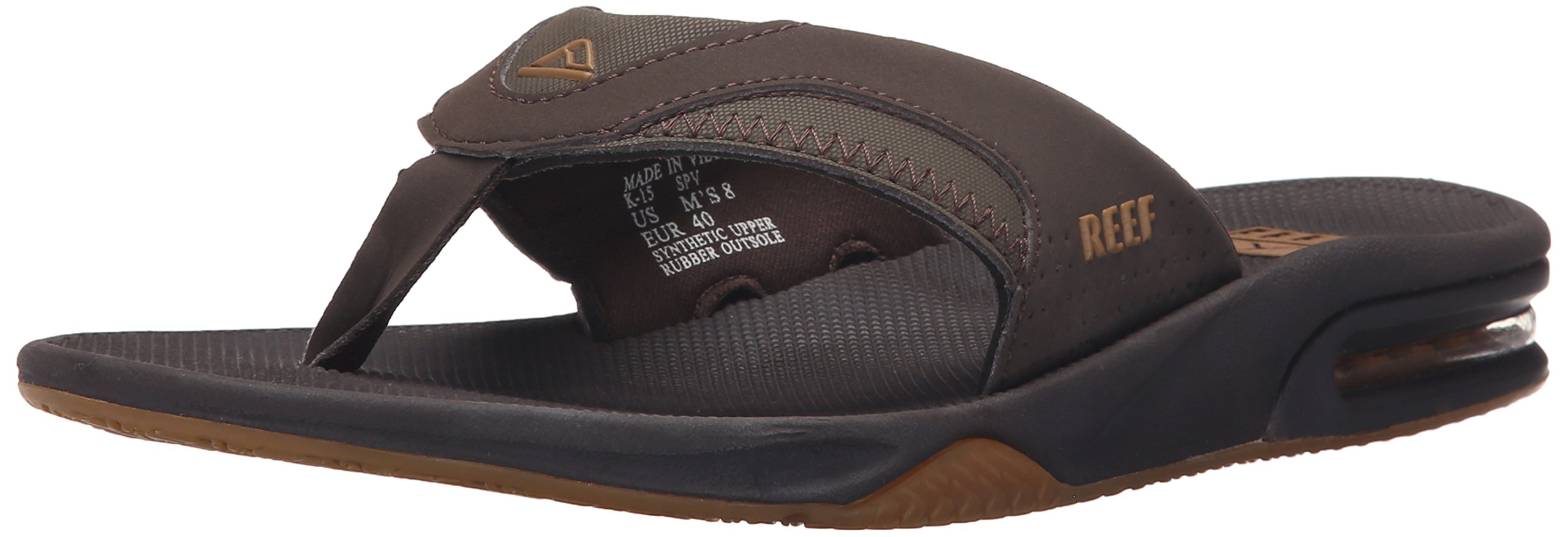 Reef Men's Fanning Flip Flop, Brown/Gum, 15 D-Medium