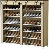 UDEAR Shoes Rack Organizador de Tela de Zapatos, Zapatero 7 Pisos con Resistente al Polvo Vestido Cubierto Beige