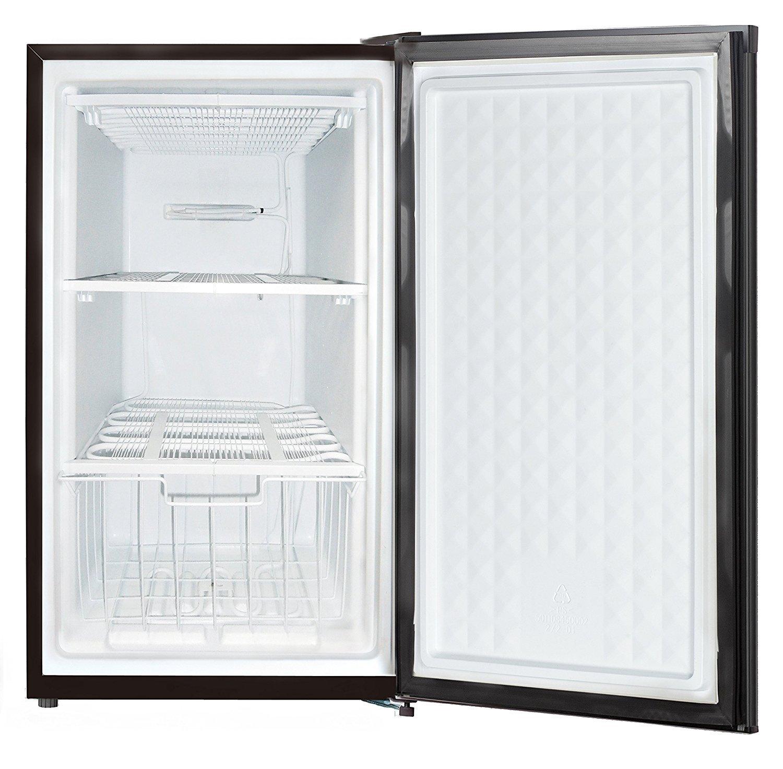 Midea WHS-109FB1 Compact Single Reversible Door Upright Freezer, 3.0 Cubic Feet, Black