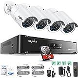 SANNCE Kit de 4 Cámaras de Vigilancia Seguridad 1080P CCTV 4CH NVR P2P y 4 Camaras