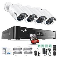 SANNCE 1080P Kit Videosorveglianza POE NVR 4 Canali 4 Telecamera Sorveglianza 1080P Videoregistratore 2MP Visione Notturna 100ft Accesso Remoto IP66 H.264 Bullet Camera POE 1TB HDD