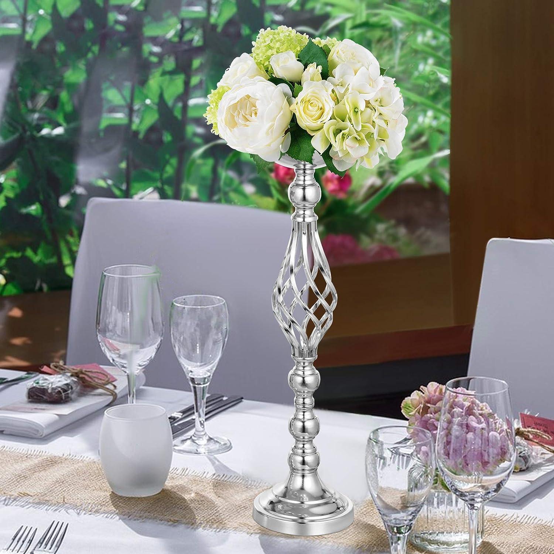Argent Ukiki Support de Fleur de 4pcs Support /à Fleur pour Bougie en M/étal de Mariage 4pcs Pi/èce de Table Vase Vasewer Ma/îtresse 40.64cm 47.24cm 53.34cm