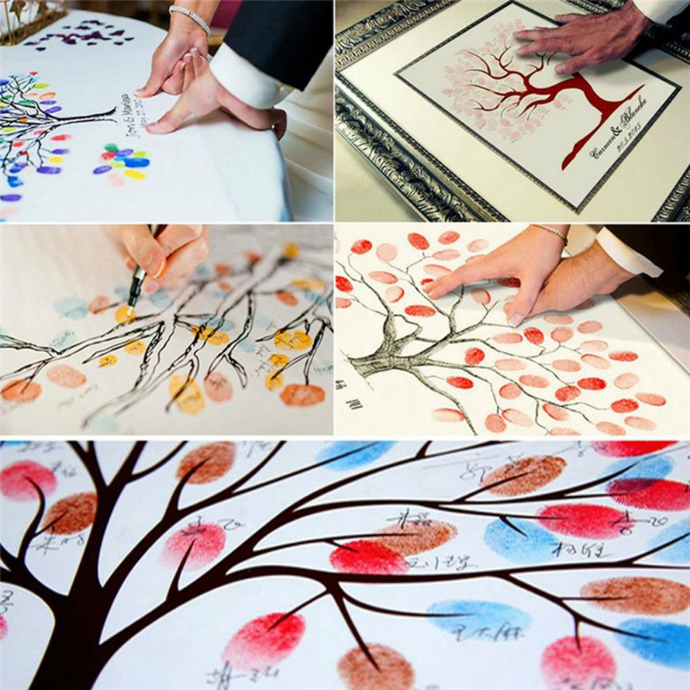 DIY Fingerprint Painting, Wedding Party DIY Signature Guest Book Fingerprint Painting (Love Tree) by Liushuliang (Image #4)