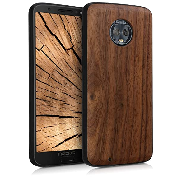 new styles cfc82 bdb4a kwmobile Wooden Protective Cover for Motorola Moto G6 - Hard case with TPU  Bumper Walnut in Dark Brown