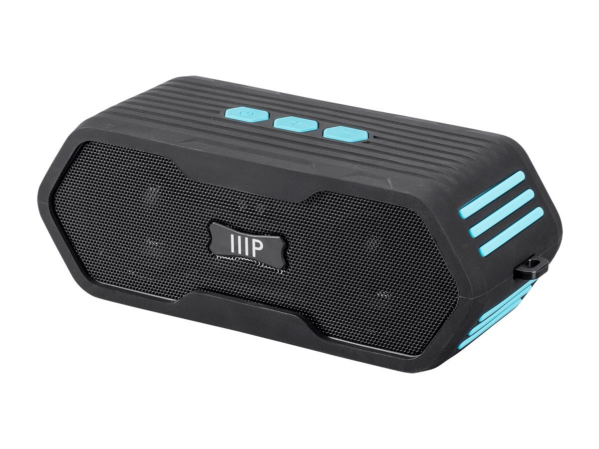 Monoprice Deep Blue Sub710 Portable Waterproof Bluetooth 4.0 Speaker - Black | Submersible IPX7 Rated, 10 Hour Battery Life, 65ft Wireless Range, Compatible with Apple, Android, Samsung, and Tablets