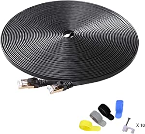 CableGeeker Cat7 Shielded Ethernet Cable 50ft (Highest Speed Cable) Flat Ethernet Patch Cable Support Cat5/Cat6 Network,600Mhz,10Gbps - Black Computer Cord + Free Clips and Straps for Router Xbox