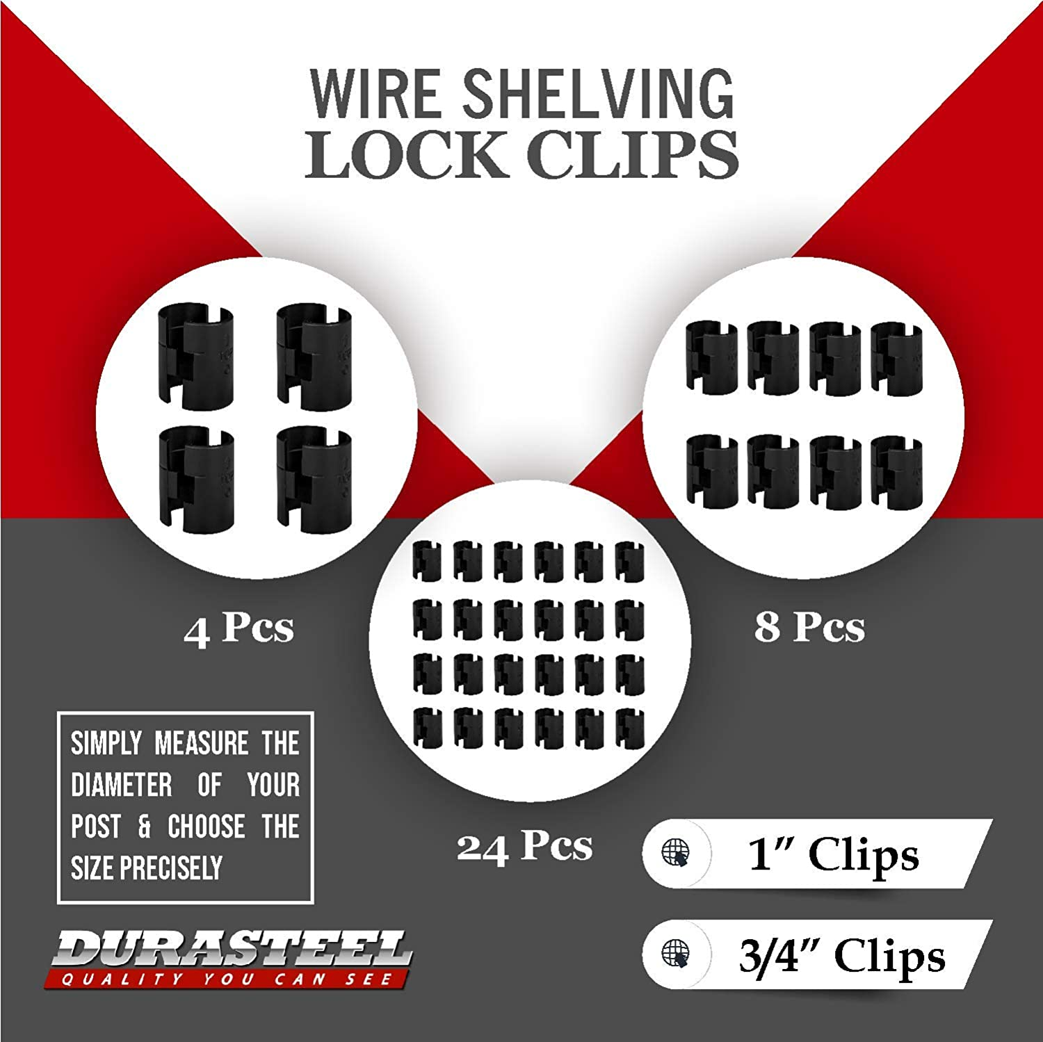 """DuraSteel Wire Shelving Shelf Lock Clips / Shelving Sleeves - Fits with Thunder Group, Alera, Honey Can Do, Eagle, Regency, Metro and more - For 3/4"""" Post, Plastic, Black, Pack of 8 Pcs: Home Improvement"""