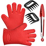 Kitchen & BBQ Grill Tool Set - Wosweet Silicone Heat Resistant Cooking Gloves With Tongs & Bear Claw - Use as BBQ Meat Turner or Oven Mitts