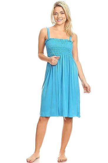 69bb152b62c0 Lati Fashion SD015 Sun Dress Beach Cover up Stretch Knee High Tank Top  (Blue