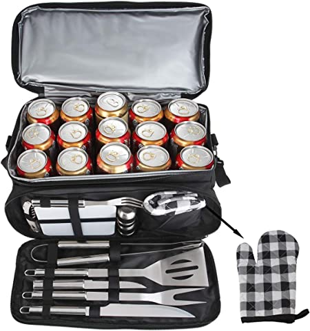 Camping Stainless Steel Grilling Tools Kit Ideal Barbecue Utensils Kit for Christmas Birthday Gifts Men POLIGO 12PCS BBQ Grill Accessories Set with 15 Can Black Insulated Waterproof Cooler Bag