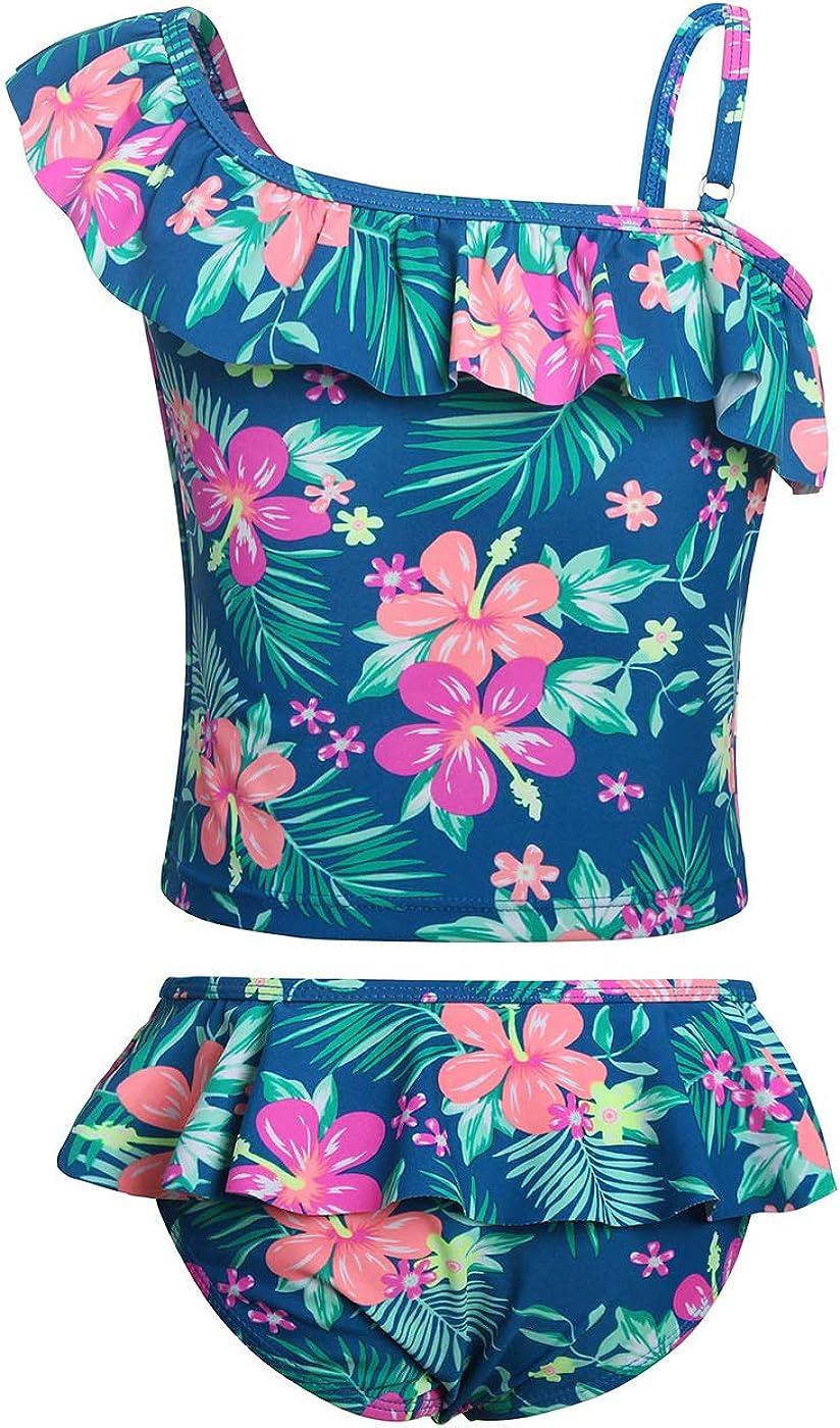 Jurebecia Girls Two Piece Tankini Swimsuit Hawaiian Ruffle Swimwear Bathing Suit Set 2-10 Years