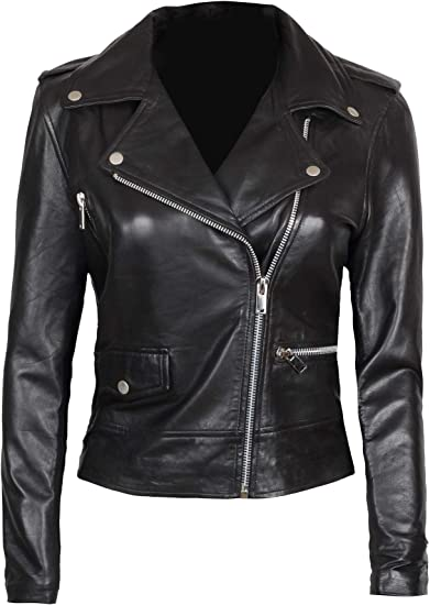 Asymmetrical Womens Leather Jacket Real Lambskin Leather Jackets for Women