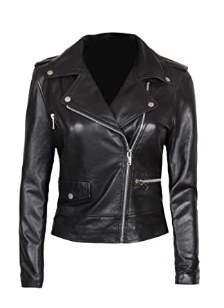 ed3e0a3cd15c Decrum Black Leather Jackets for Women - Real Leather Jacket Women|  [1300181] XS