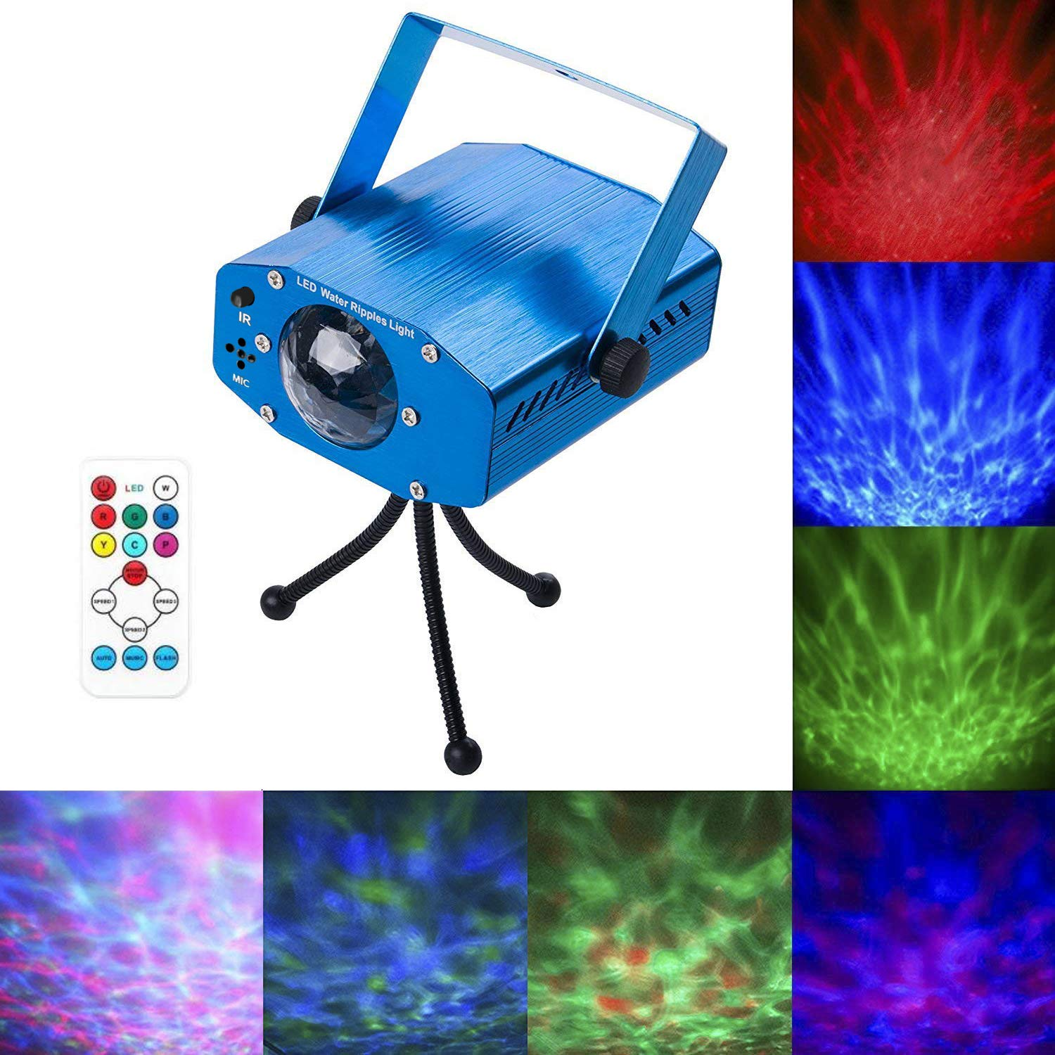 Leaden Party Laser Lights, 7 Colors Led Stage Party Light Projector, Strobe Water Ripples Lighting for Parties Room Show Birthday Party Wedding Dance Lighting with Remote Control(Blue) by leaden
