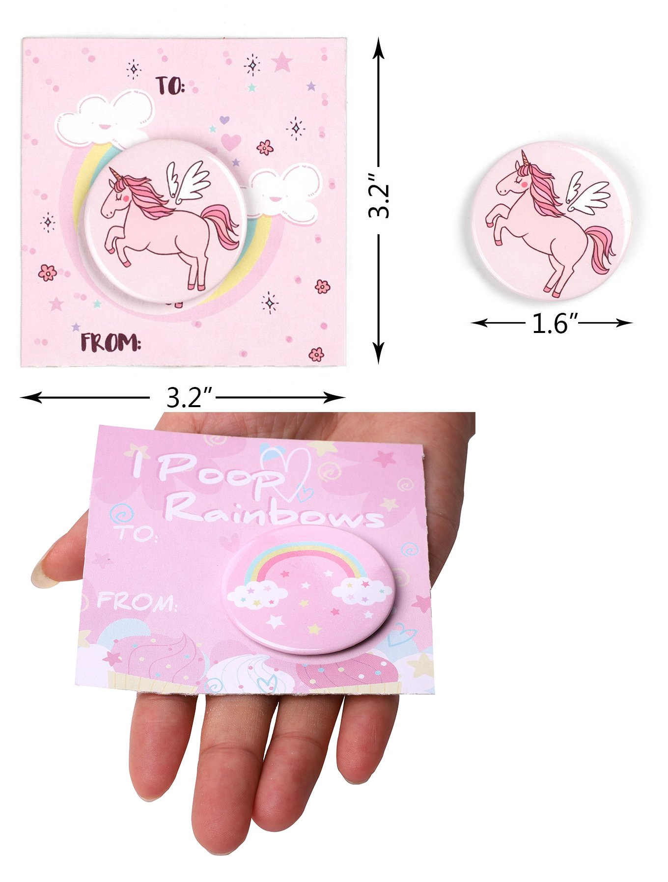 Geefuun Unicorn Pins Valentine's Day/Birthday Party Favors Decorations Girl Gift Badges Magical Rainbow Cards Supplies 5
