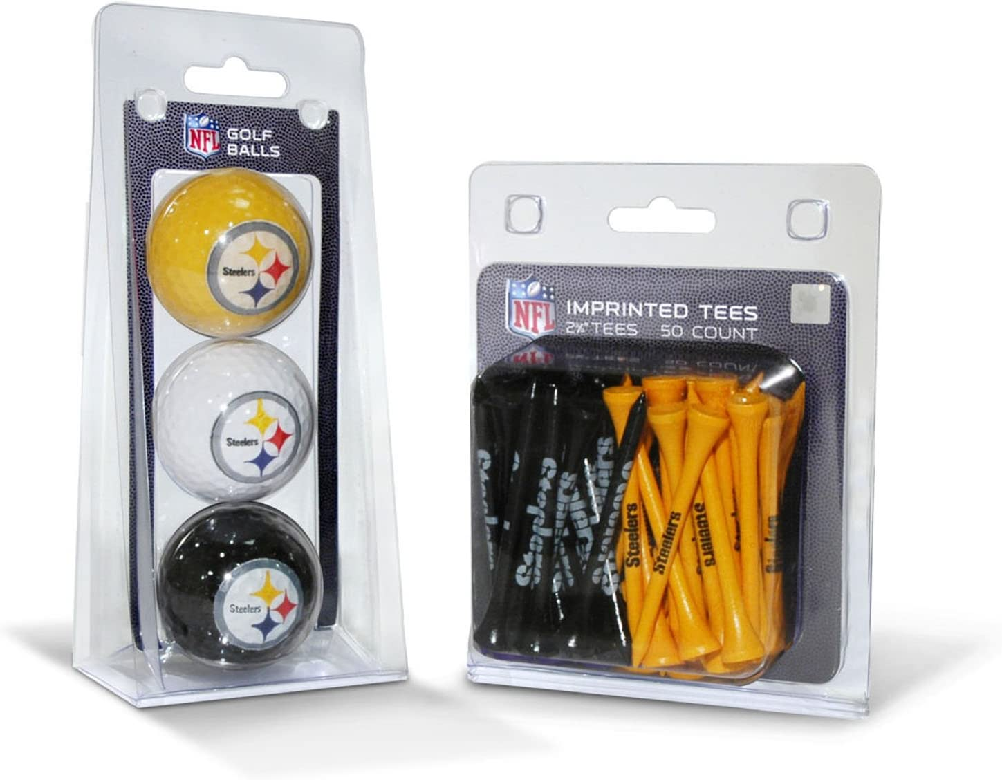 """Team Golf NFL Pittsburgh Steelers Logo Imprinted Golf Balls (3 Count) & 2-3/4"""" Regulation Golf Tees (50 Count), Multi Colored: Sports & Outdoors"""