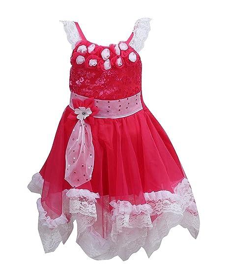 87ae112cfb Wish Karo baby girls Party wear frock dress DN71M fr71M  Amazon.in ...