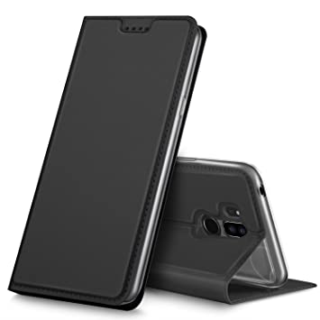 LG G7 ThinQ Funda, iBetter Flip Cover Carcasa PU Silicio Protectora de Carcasa con Soporte Plegable para LG G7 ThinQ. Negro