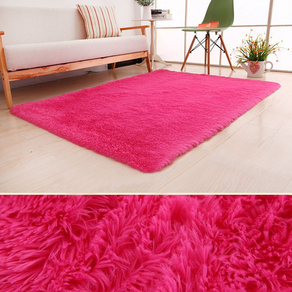PAGISOFE Ultra Soft Area Rugs Girls Kids Bedroom Carpet Nursery Decor Living Room Rug Floor Mat 4' x 5.3',Hot Pink
