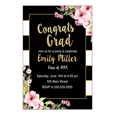 30 Invitations Graduation Party Black Gold Floral Personalized Cards Photo Paper