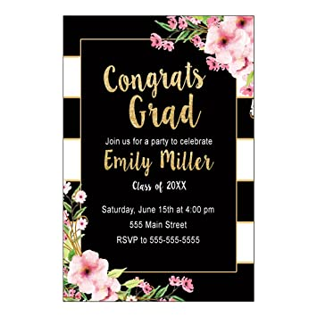 Amazoncom 30 Invitations Graduation Party Black Gold Floral