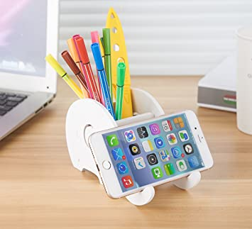 Cell Phone Stand ,Elephant Pen Holder With Phone Holder Desk Organizer  Mobile Bracket Stand Storage