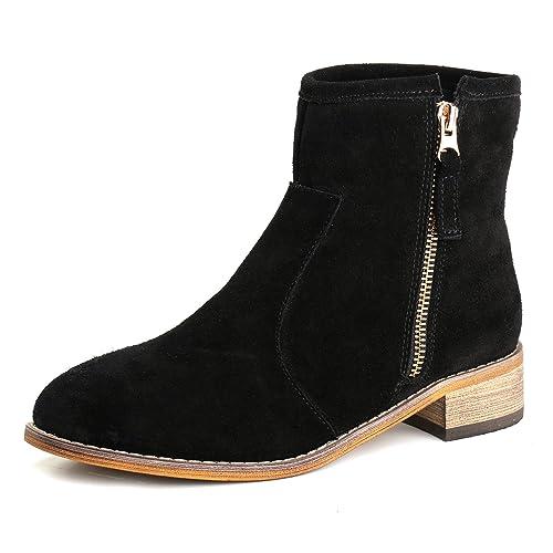 Alexis Leroy Zapatos con Cremallera - Botines Chelsea de Cuero Mujer: Amazon.es: Zapatos y complementos