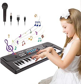 TWFRIC Teclado de Piano para Niños,37-Teclas Teclado Musical Electrónico Pianos Infantiles con Micrófono,Juguetes Musicales Educativos Regalos para ...