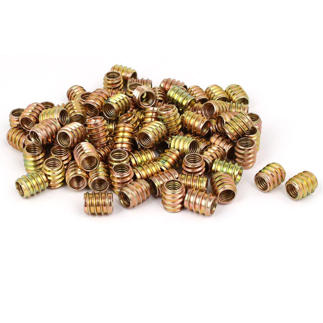 uxcell Wood Furniture Insert Screw E-Nut Bronze Tone M8 x 15mm 100pcs