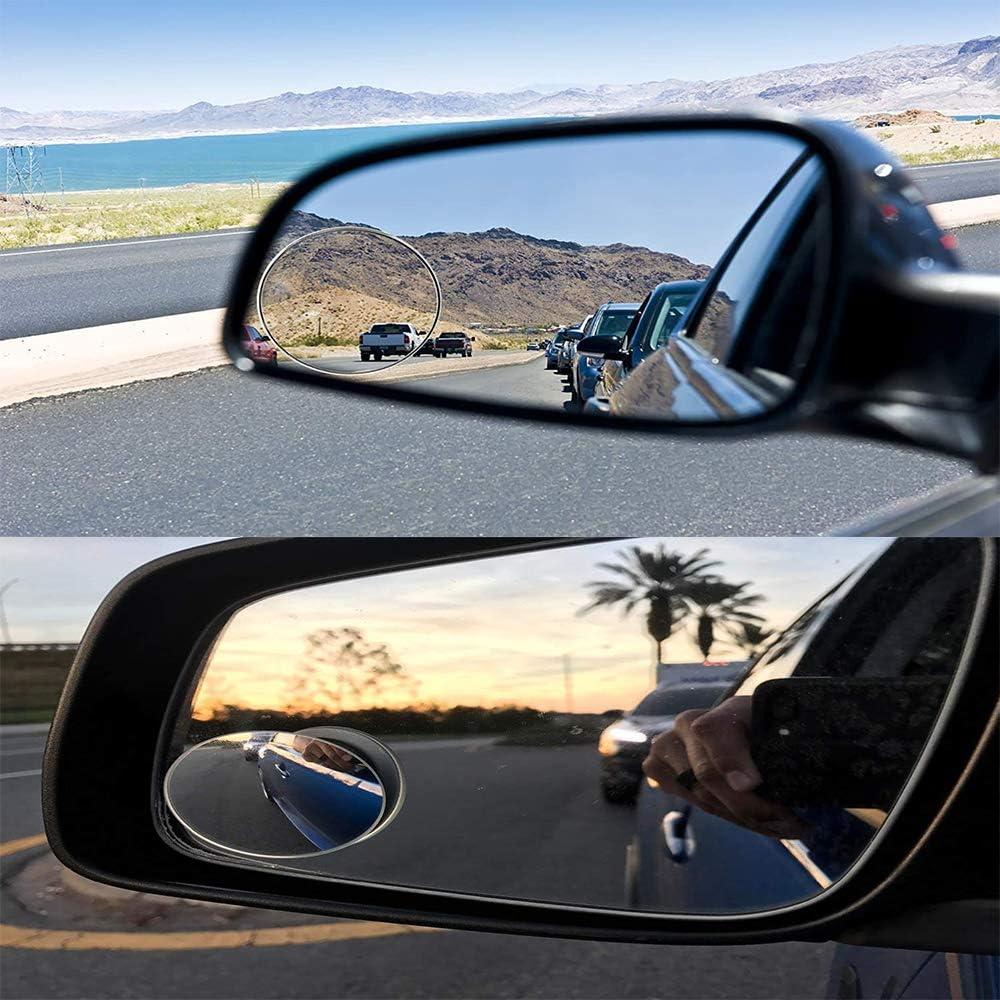 1 Paar Totwinkelspiegel + 3 Regenfilm Blind Spot HD Toter-Winkel-Spiegel Car Blind Spot Mirror Round 360 Degree Frameless Wetterfest Car Rear View Mirror Rain Cover Film 95 x 135 mm