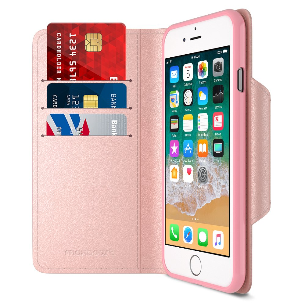 Maxboost iPhone 8 Wallet Case [Folio Style] [Stand Feature] mWallet Series Apple iPhone 8(2017)/iPhone 7 [Rose Gold] Protective Credit Card Leather Cover [Card Slot + Side Pocket] Magnetic Closure by Maxboost