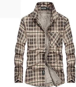 ACZZ Camisa cálida de invierno para hombre, camisa de manga larga, camisa de cuadros cálida acolchada de invierno, chaqueta de camisa de terciopelo casual plus,Caqui,***-Grande: Amazon.es: Bricolaje y herramientas