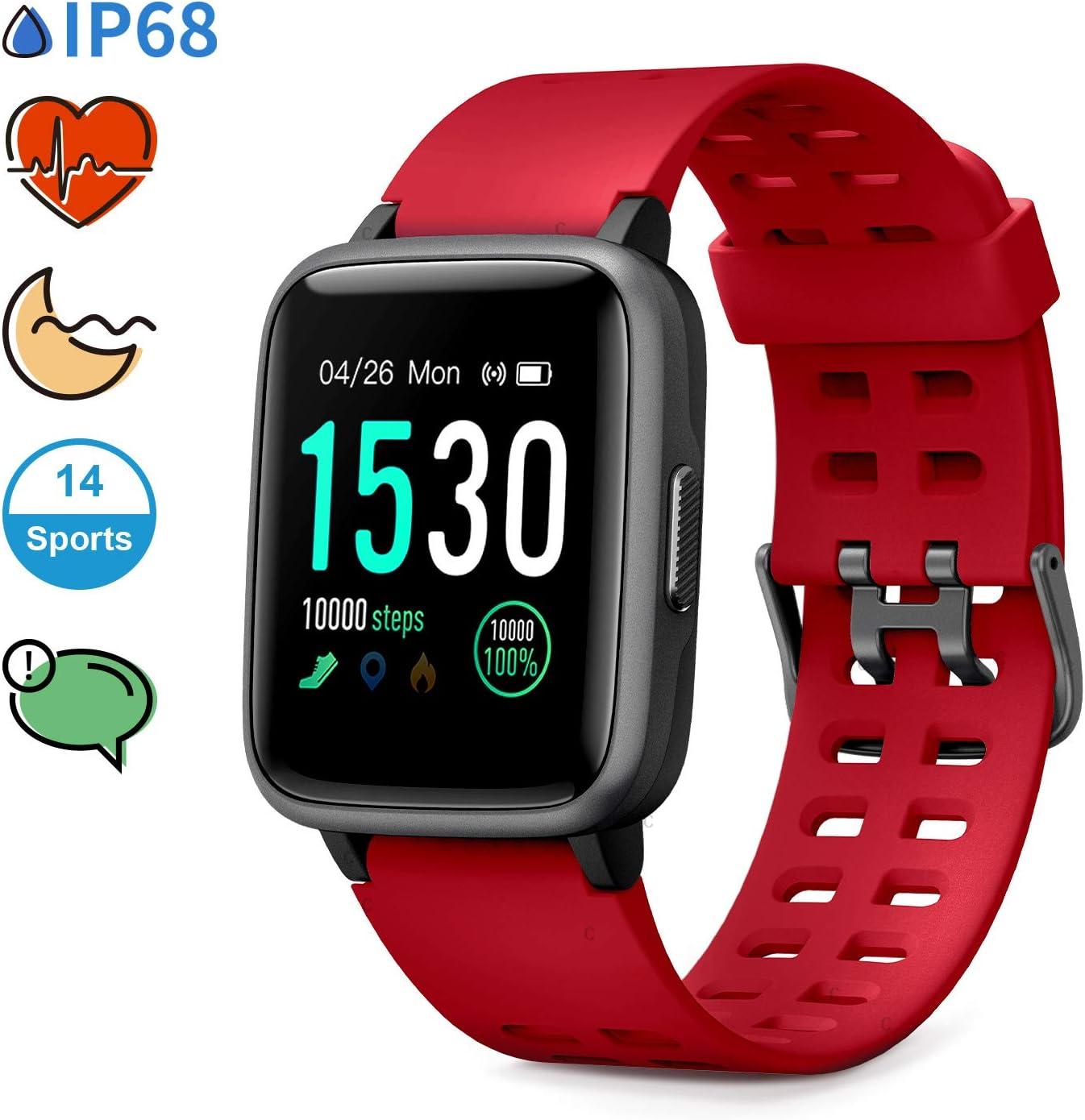 Glymnis Reloj Inteligente Smartwatch Impermeable IP68 Pulsera Actividad con Pulsómetro Monitor de Sueño Pantalla Táctil Completa Reloj Deportivo para Android iOS Rojo