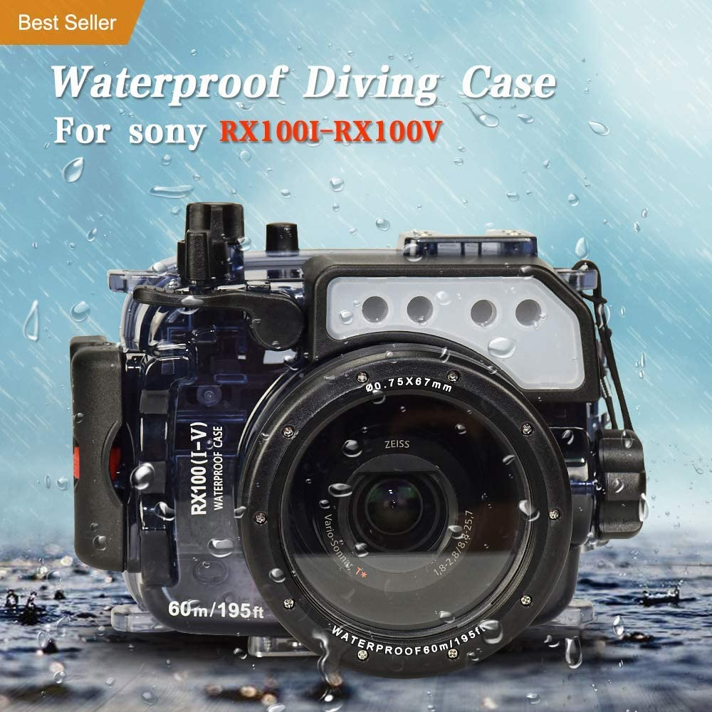 Waterproof Diving Protective Case for Sony RX100//RX100 II//RX100 III//RX100 IV//RX100 V 195FT//60M Seafrogs Underwater Camera Housing w//Dome Port Kit