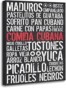 TORASS Canvas Wall Art Print Cuba Comida Cubana Metro Food Recipe Recipes Artwork for Home Decor 12