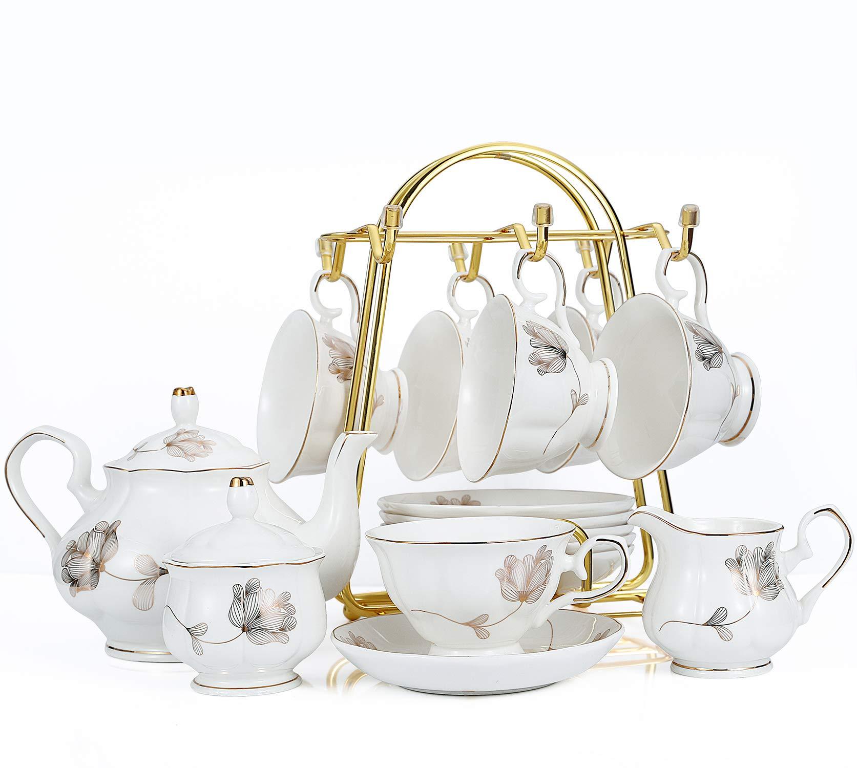 15-Piece Porcelain Ceramic Tea Gift Sets, Cups& Saucer Service for 6, Teapot, Sugar Bowl and Creamer Pitcher