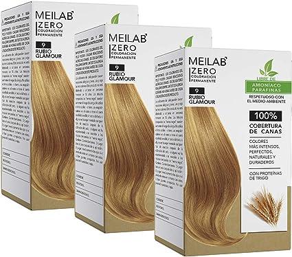 MEILAB - Tinte permanente sin amoniaco - Pack de 3 unidades - Color Rubio muy claro #9