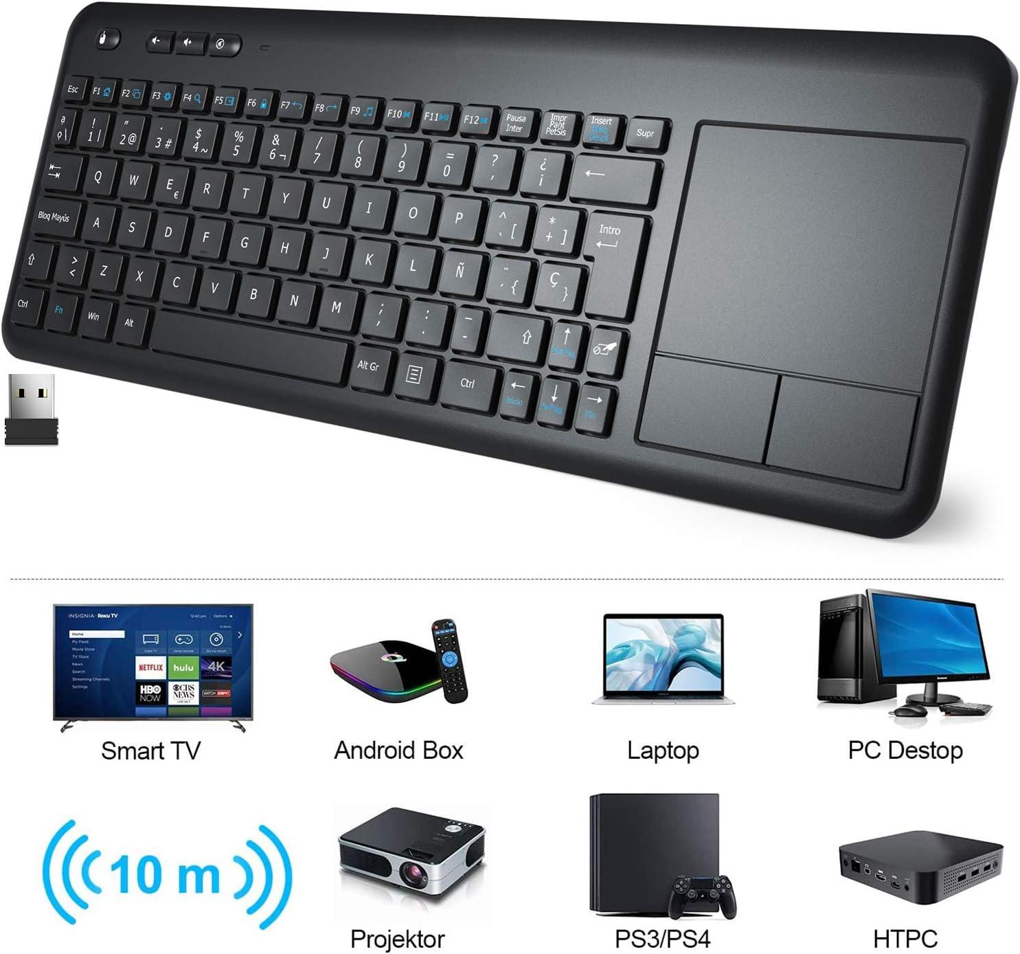 Teclado Táctil Inalámbrico, WisFox Teclado Inalámbrico Ultra Delgado de 2.4G con Trackpad Multitoque de Gran TamañoIncorporado para Smart TV HTPC Tableta PC Computadora Portátil Google Windows Android