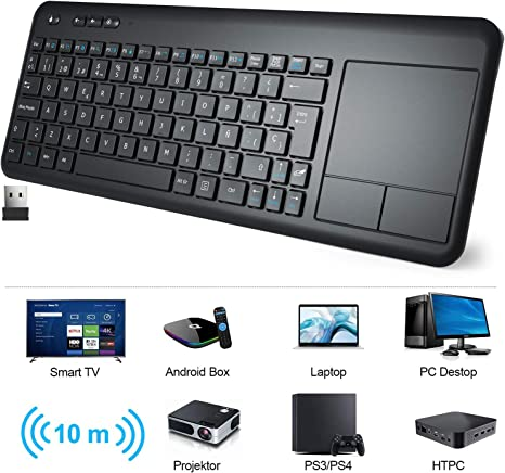 Teclado Táctil Inalámbrico, WisFox Teclado Inalámbrico Ultra Delgado de 2.4G con Trackpad Multitoque de Gran TamañoIncorporado para Smart TV HTPC Tableta PC Computadora Portátil Google Windows Android: Amazon.es: Electrónica