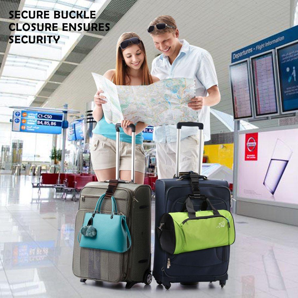 4/packs dajouter une bagages Ceinture et bretelles Afunta r/églable de voyage Valise Accessoires de fixation /à la ceinture pour connecter bagages Ensemble/ /Noir